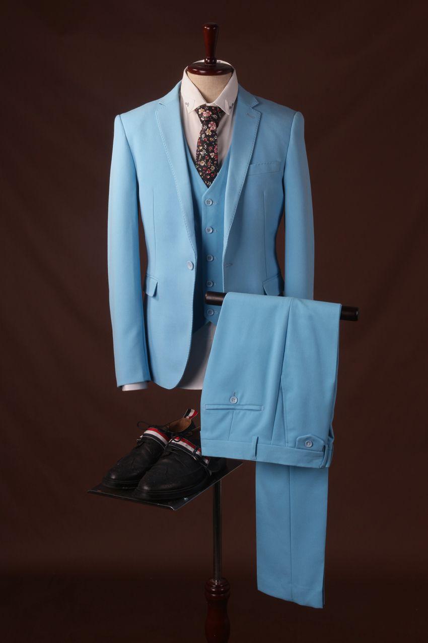 Aliexpress.com : Buy Three Piece light blue gentlemen slim fit ...