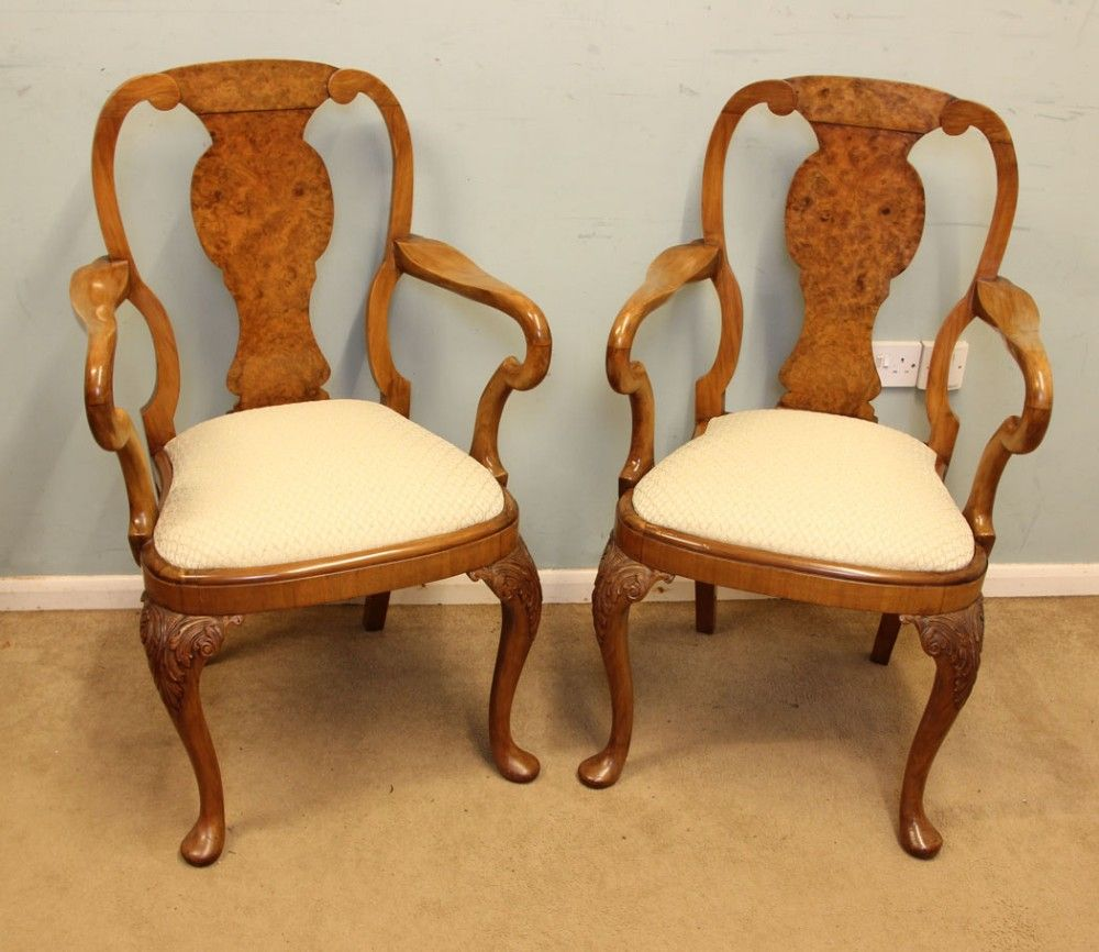 Excellent Pair Georgian Style Walnut Carver Armchairs Elbow Desk Ibusinesslaw Wood Chair Design Ideas Ibusinesslaworg