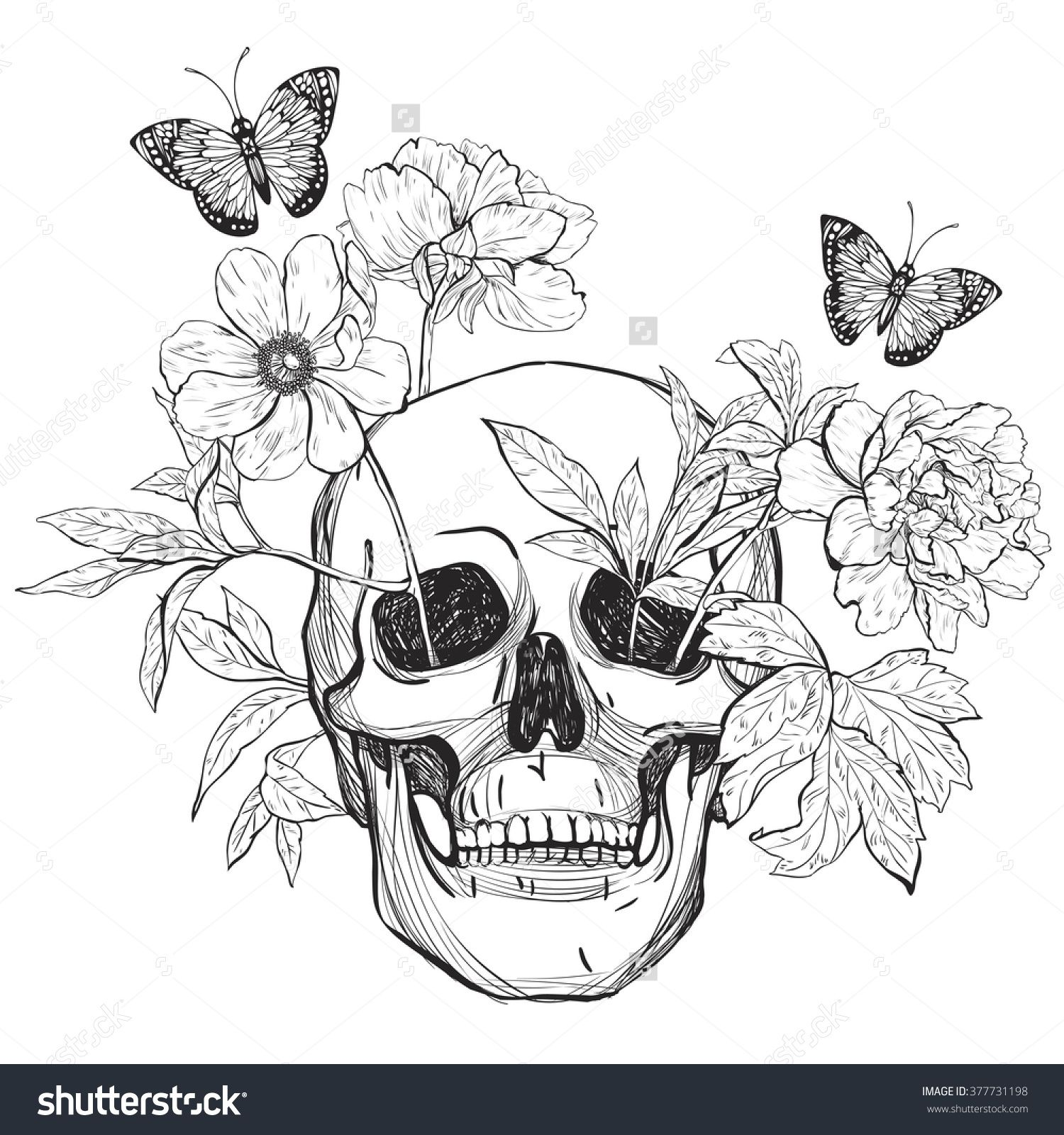 skull flowers and butterfly tattoo art coloring books hand drawn
