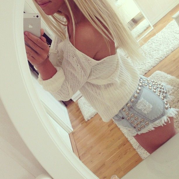 studded shorts, distressed shorts, top, shirt, clothes, outfit