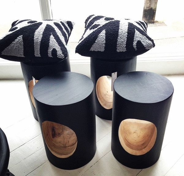 "These Woodland Stool make a great side table or stool. Featuring a hollowed out, natural finish centre and black painted exterior. Diameter 28cm Height 460mm. Also featuring our incredible, bespoke ""One Tribe"" cushions. Designed by One Another Design- supporting talented artisan women living in some of the world's most impoverished and challenging regions. 427, Darling Street, Balmain, 2041 Website: www.lumuinteriors.com Email: hello@lumuinteiors.com Phone: 0427 427 752"