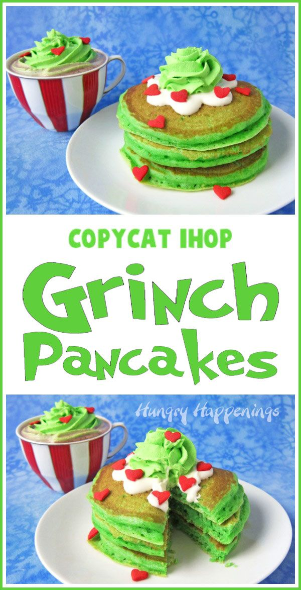 You can make your own Copycat IHOP® Grinch Pancakes at home. Your kids will love waking up to a stack of fluffy green pancakes topped with cream cheese icing, green whipped cream, and red candy hearts for Christmas breakfast. Recipe at HungryHappenings.com. #grinch #thegrinch #grinchpancakes #greenpancakes #ihopgrinchpancakes