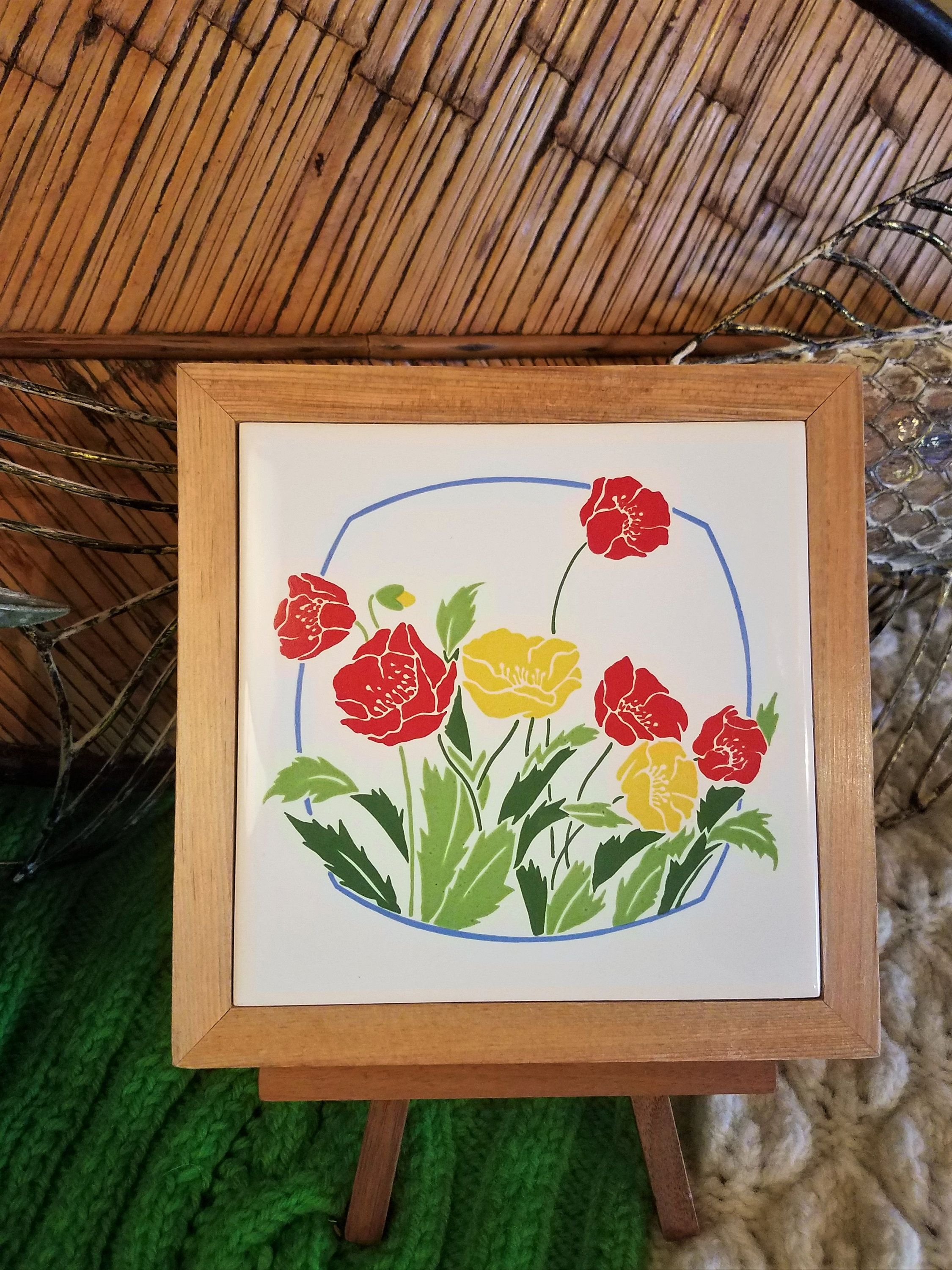 Vintage framed floral ceramic tile trivetwall plaque groovy hippie vintage framed floral ceramic tile trivetwall plaque groovy hippie decorboho decor made in taiwan kitchen decor dailygadgetfo Choice Image