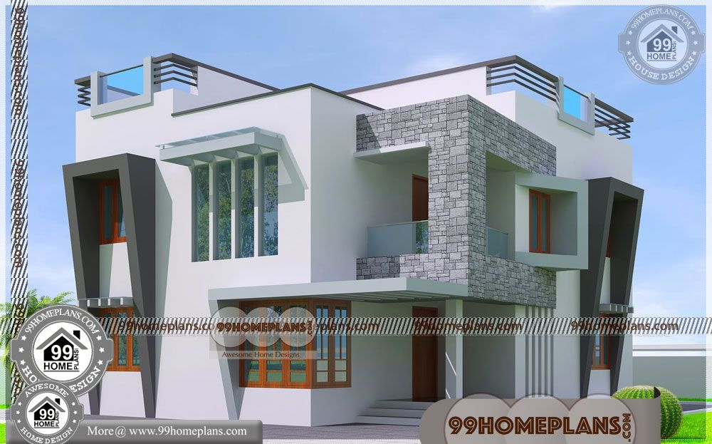Contemporary Mansion Plans With Double Storey House Elevation Having 2 Floor 3 Total Bedroom 4 Kerala House Design Minimalist House Design House Front Design