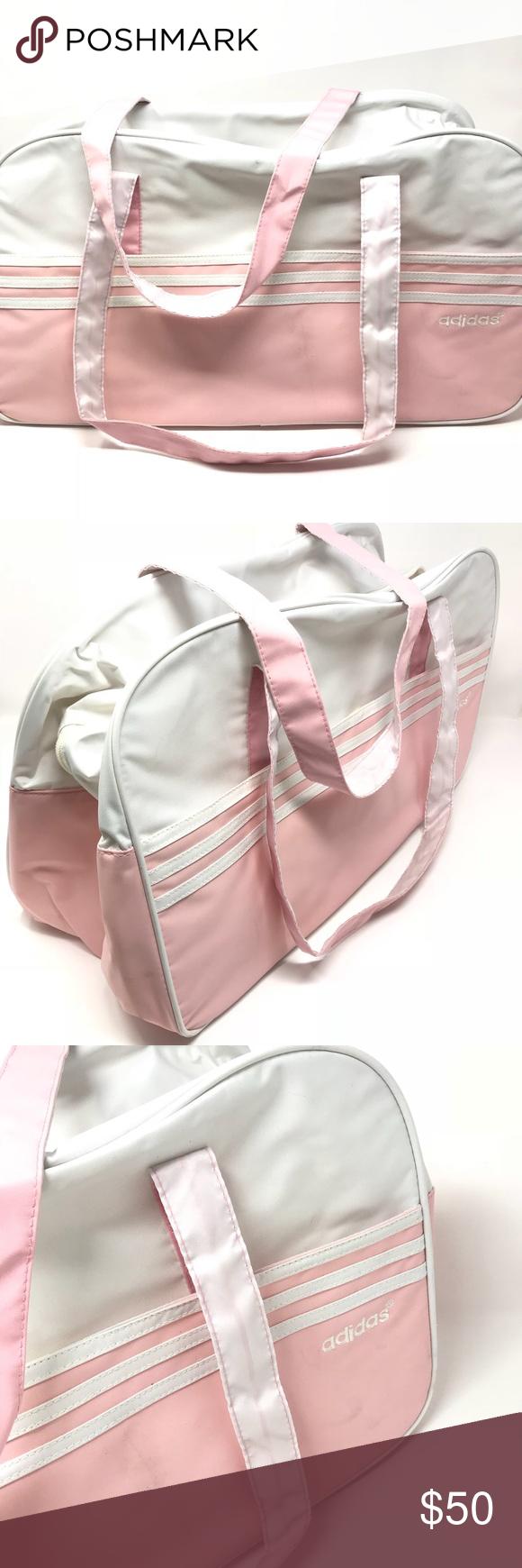 "96719893f EUC Adidas Light Pink & White 3 Stripe Gym Bag EUC Adidas Light Pink &  White 3 Stripe Gym Bag B156 // 20"" Length, 10.5"" Height • 12"" strap drop •  9"" ..."