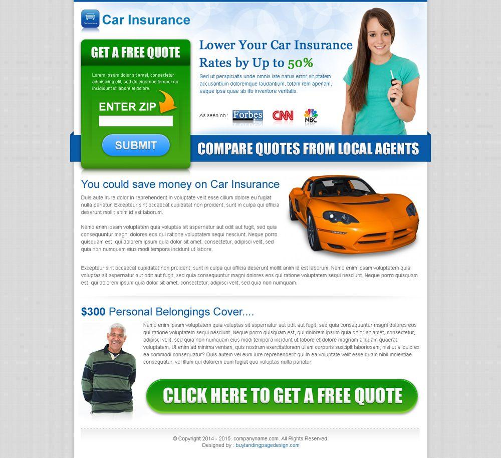 car insurance zip submit converting landing page design