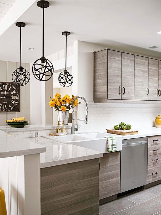 Modern gray kitchen with apron front double bowl sink and for Restaurant style kitchen faucet
