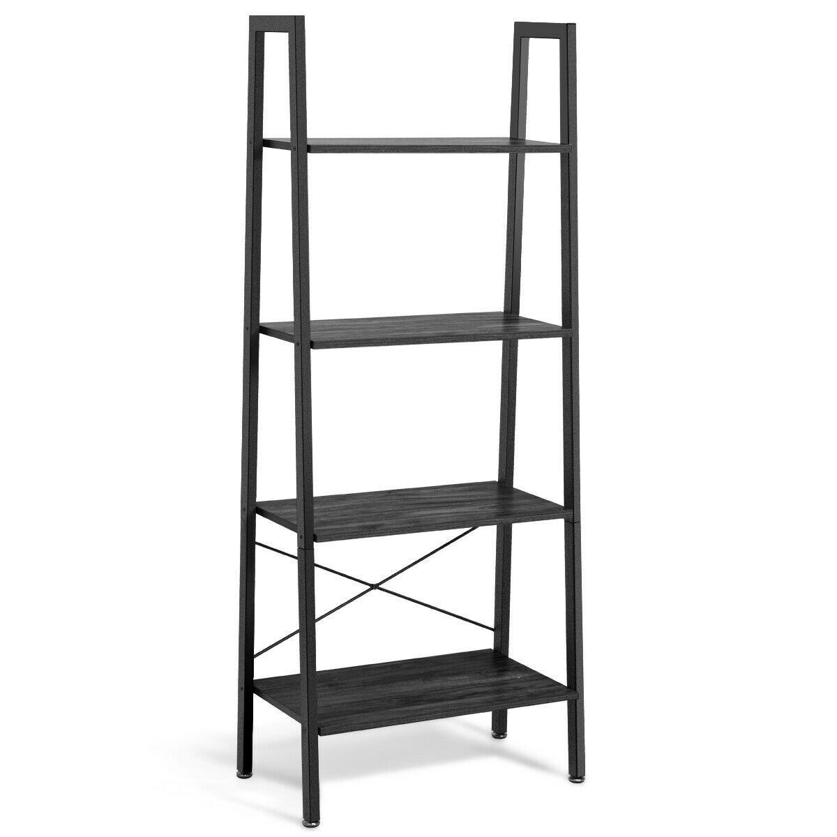 4 Tier Ladder Shelf Bookcase Bookshelf Display Rack Plant Stand