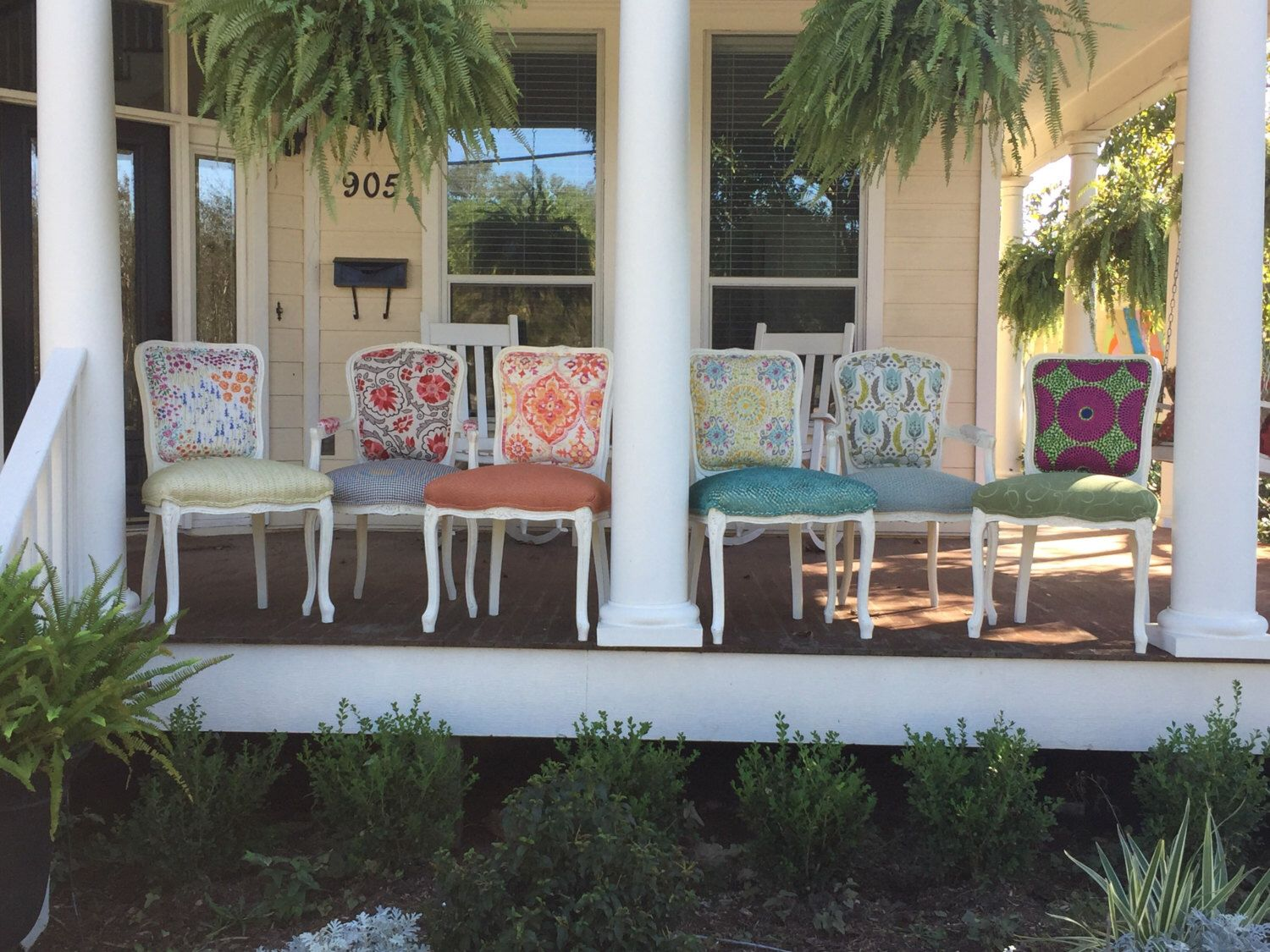 Eclectic Boho Dining Chairs by ChairWhimsy on Etsy https://www.etsy.com/listing/478980514/eclectic-boho-dining-chairs