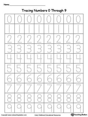 Tracing Numbers 0 Through 9 Numbers  Counting Pinterest