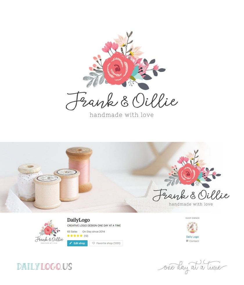 Watercolor Floral Bouquet Logo Wordpress Blog Header Social Media