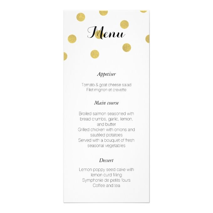 Elegant Gold Confetti Wedding Menu Cards, Gold and Wedding - formal dinner menu template