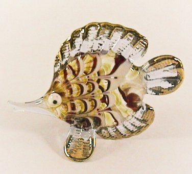 Hand Blown Glass Red-Blue Fish Gilt #3 Art Glass Animal Figurines Thai ...