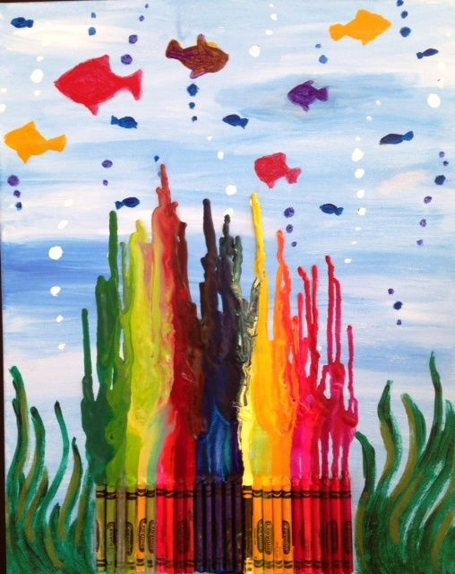 This is my first crayon art! Hoping to offer this for April vacation camp at Pinot's Palette.