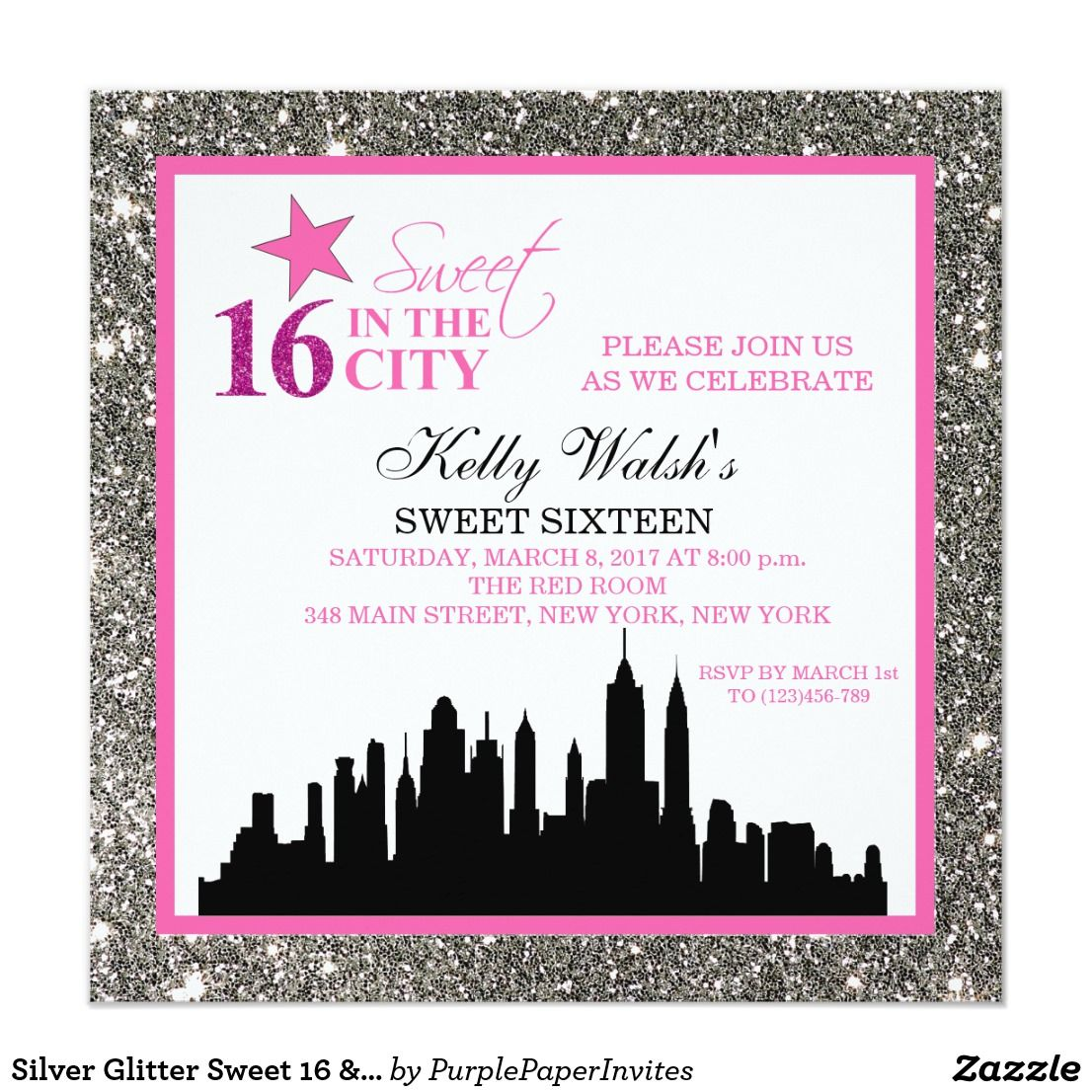 Silver Glitter Sweet 16 & The City Invitation | { Happy Birthday ...