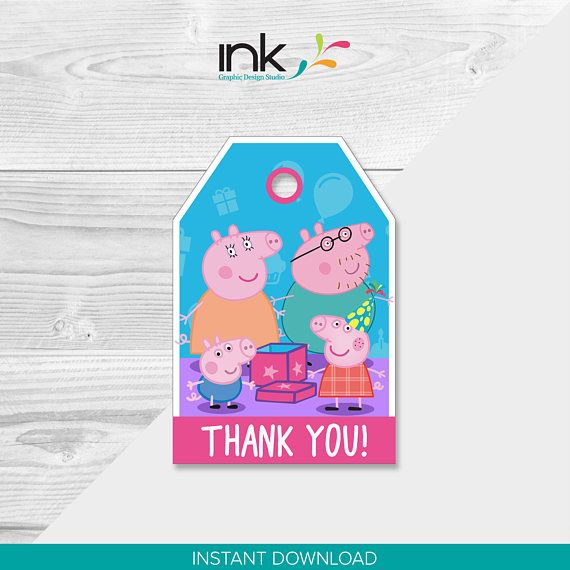 Peppa Pig Thank You Tags - Instant Download - Printable - Peppa Pig