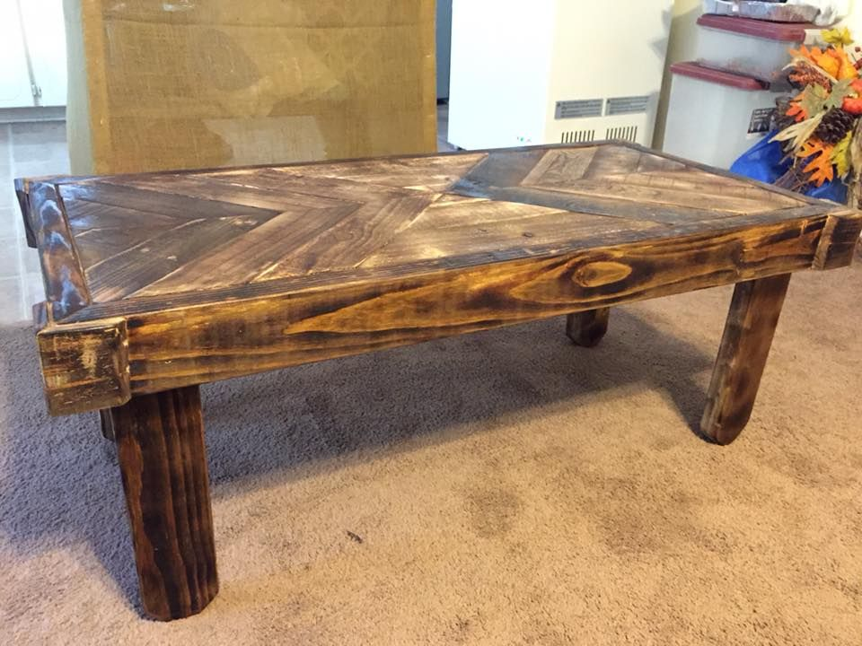 coffee table i built out of wood pallets. torched, sanded and
