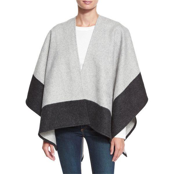2ea43c26b Rag & Bone Double-Face Colorblock Merino Wool Wrap featuring polyvore,  women's fashion, clothing, outerwear, grey, women's apparel ponchos, open  front ...