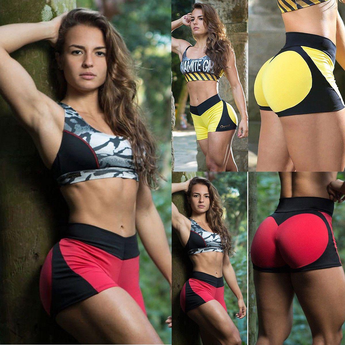 Promover/Dame/Kurz/Yogahose/Shorts/Knielang/Fitness/Sporthose/Laufhose/Blickdicht/Kurze/Sport/Leggings/Radlerhose/mit/Hohe/Taille/Taschen/Bauchkontrolle