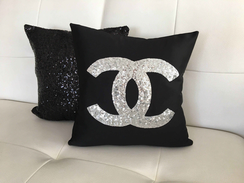 Set Of 2 Chanel Pillow,Pillow Cover, Sequins Pillow ...