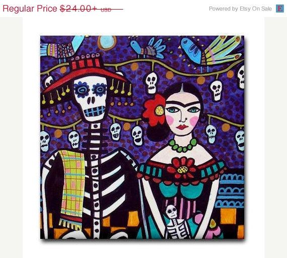 YIPEE 50% off Day of the Dead Art Tile  Frida by HeatherGallerArt