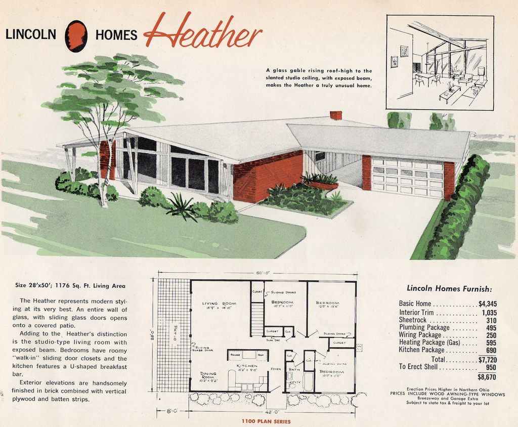 Lincoln Homes Heather Mid Century Modern House Plans Vintage House Plans Mid Century House
