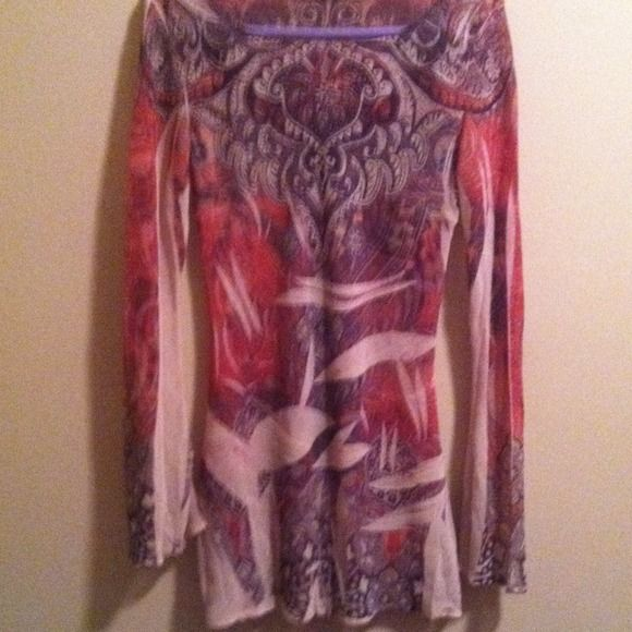 Sienna Rose Long Sheer Sheer flowing long top/ dress. Boutique purchase. Wonderful with jeans or leggings. Browns creams and oranges. Worn once. sienna rose Tops