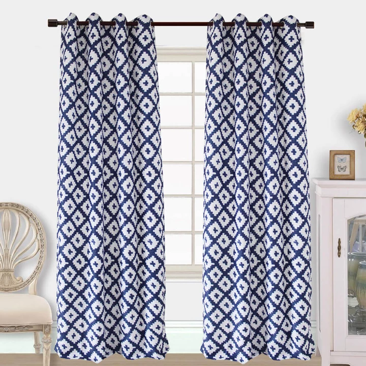 navy blue and white curtains geometric