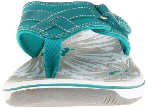 clarks women's breeze sea flip flop teal