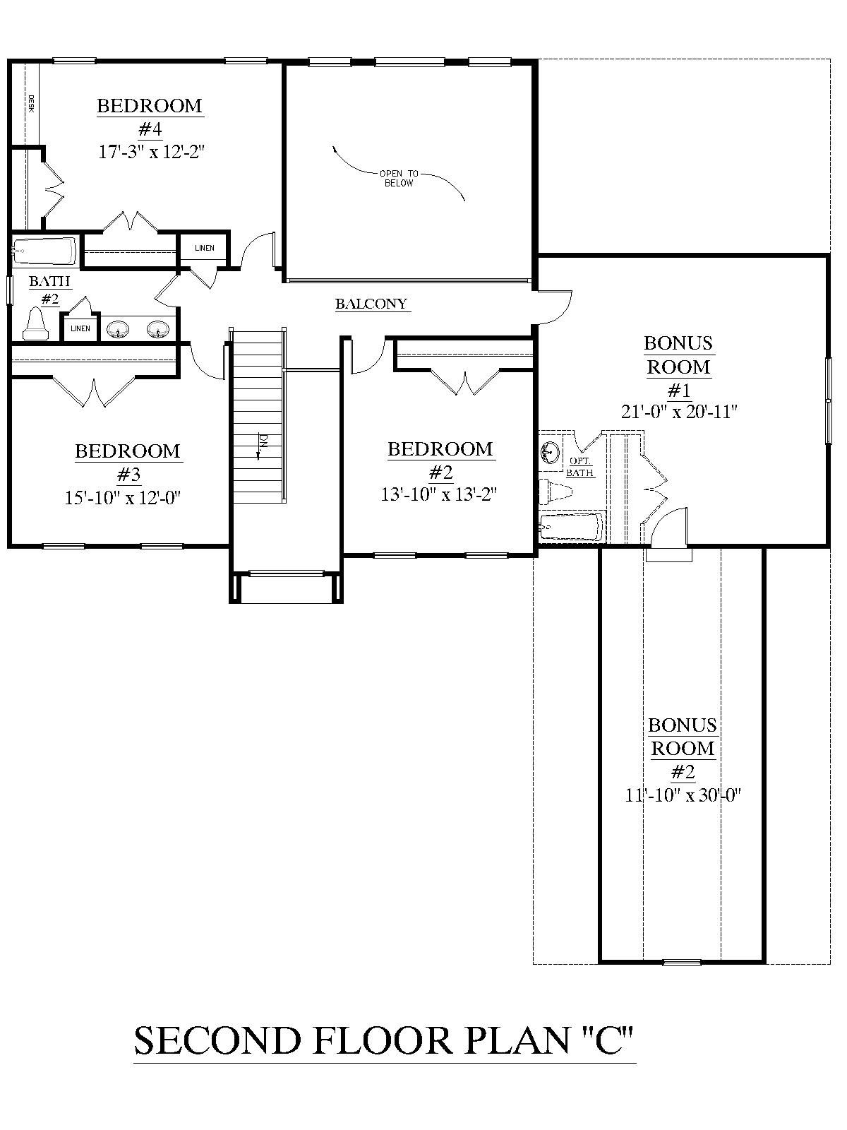House plan 2995 c springdale c second floor plan for 3 bedroom floor plans with bonus room