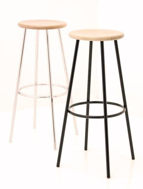 Neues Schweizer Produkt in div. Ausführungen. Wahlweise kann der Unterbau verchromt oder schwarz lackiert sein. Sitzfläche in Buche nature oder schwarz lackiert. Ab 190.-