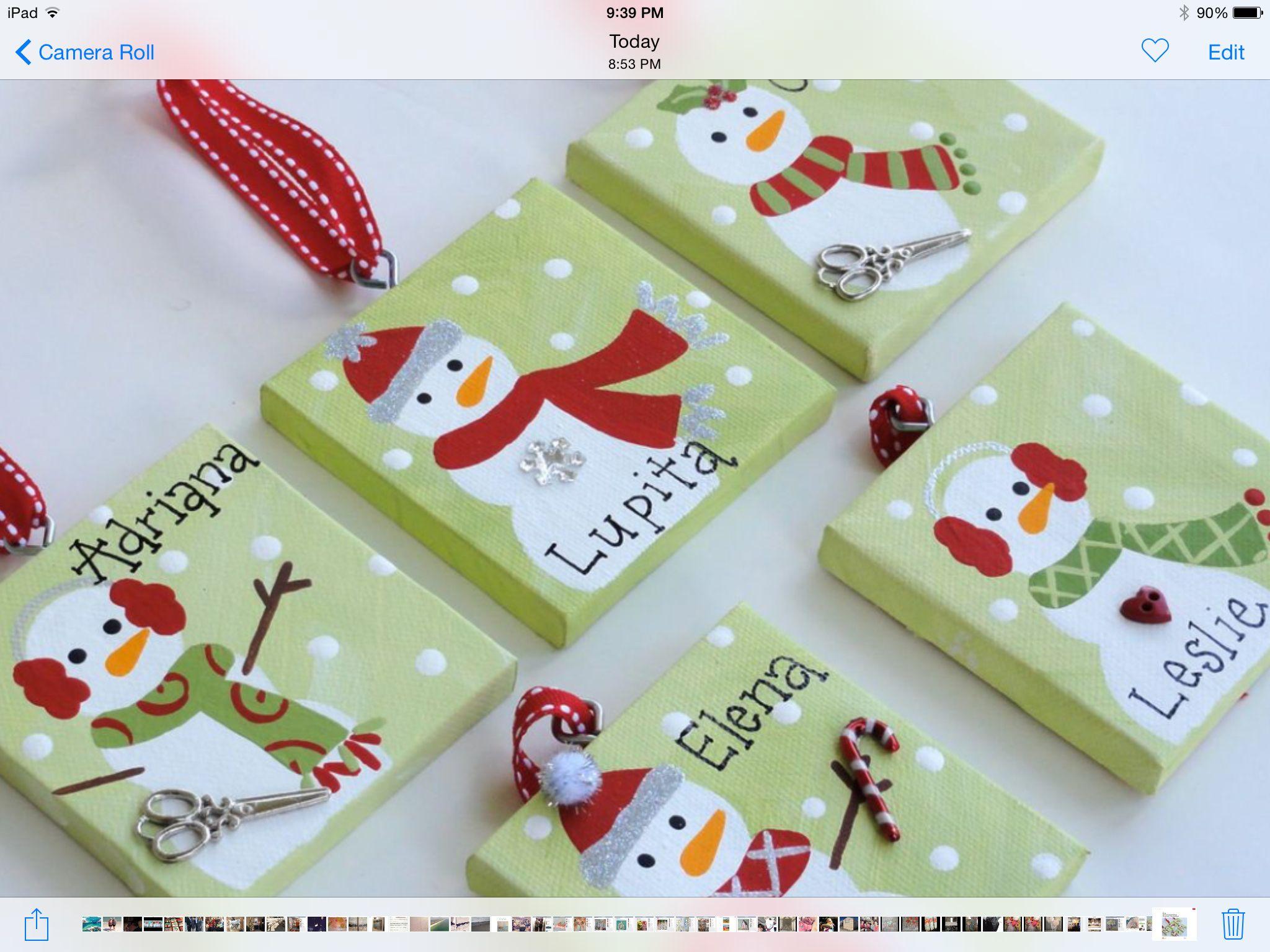 Handpainted Mini Canvas Christmas Ornaments By Ohmgrown On Etsy  Canvas   Pinterest  Mini Canvas, Christmas Ornament And Ornament
