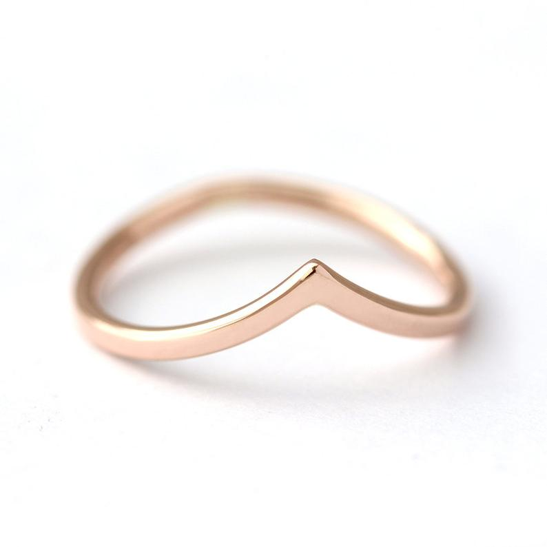 Curved Wedding Band, Rose Gold Band, Delicate Gold Band