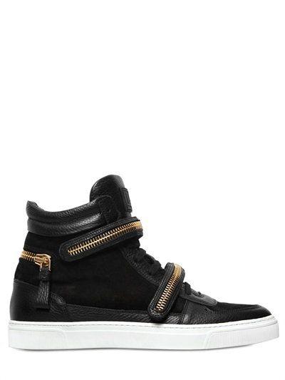 LOUIS LEEMAN Zip Details Suede High Top Sneakers, Black/White. #louisleeman #shoes #sneakers