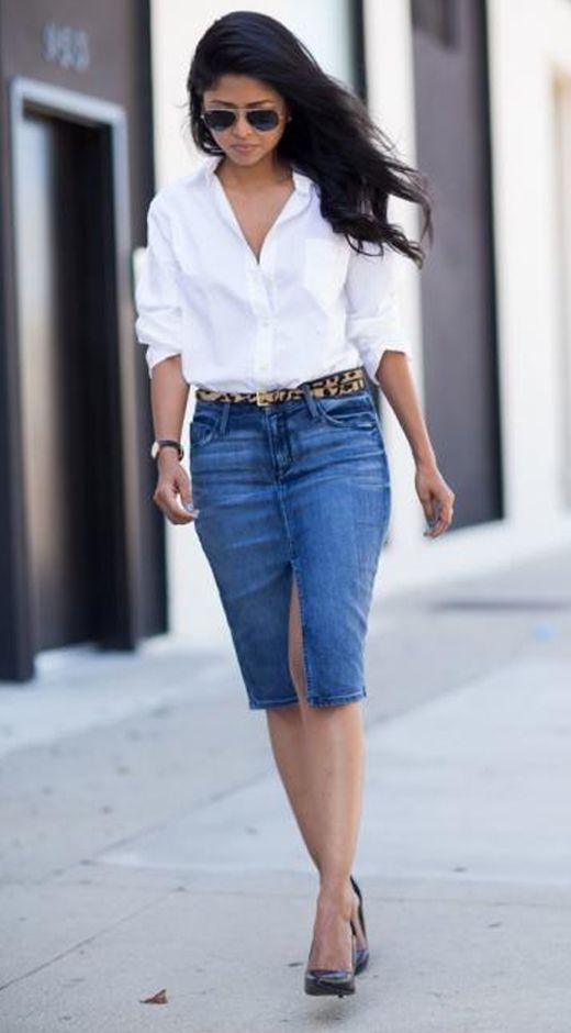 ¿Cómo usar una falda de jean en verano casual chic  - Divina  EjecutivaDivina Ejecutiva 2d6b300fcf39
