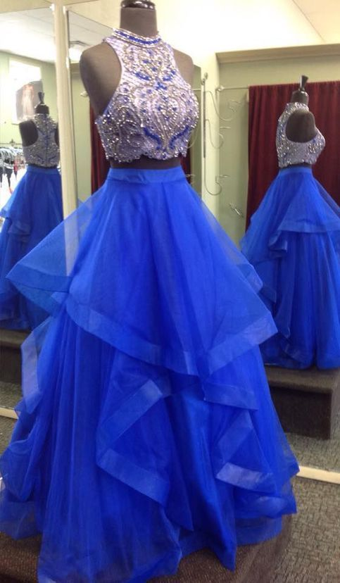 Royal Blue Two Piece Prom Dresses,Beaded Bodice Tulle Skirt Sweet 16 Dresses,Ball Gown Formal Dresses from OKProm
