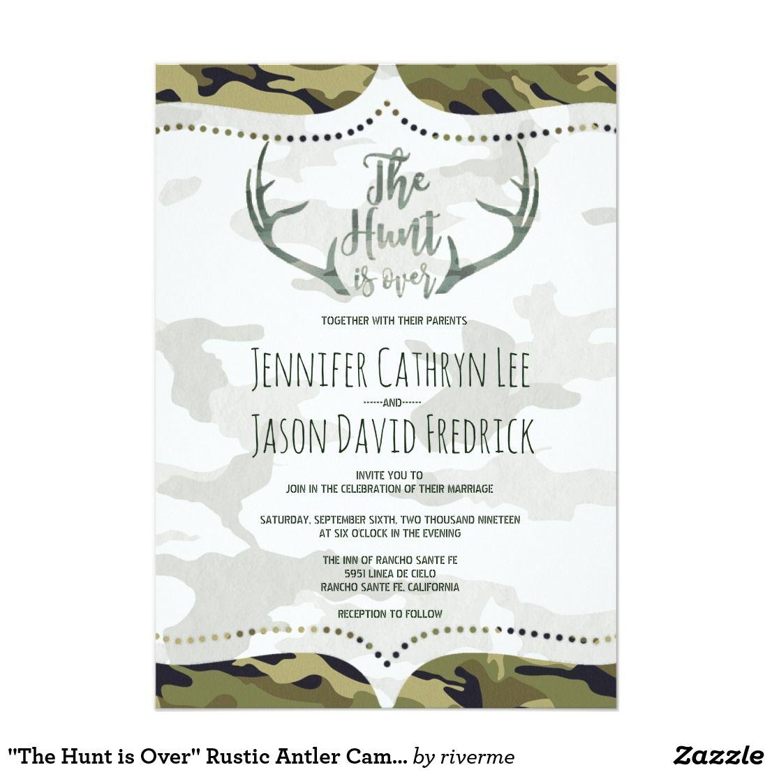 """The Hunt Is Over"" Rustic Antler Camo Wedding Invitation"