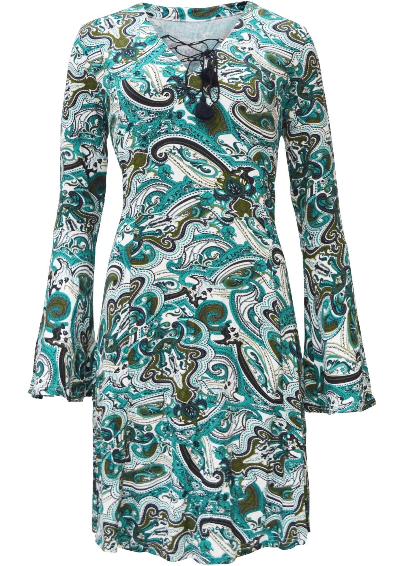 757cd8b2fa Vestido evasê estampa paisley turquesa preto estampado encomendar agora na  loja on-line bonprix