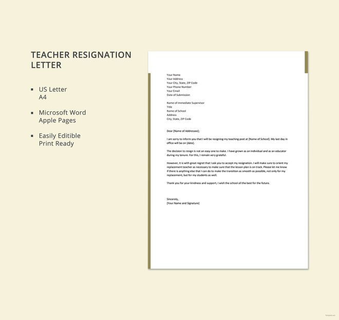 10 resignation letter template free word excel pdf ipages free