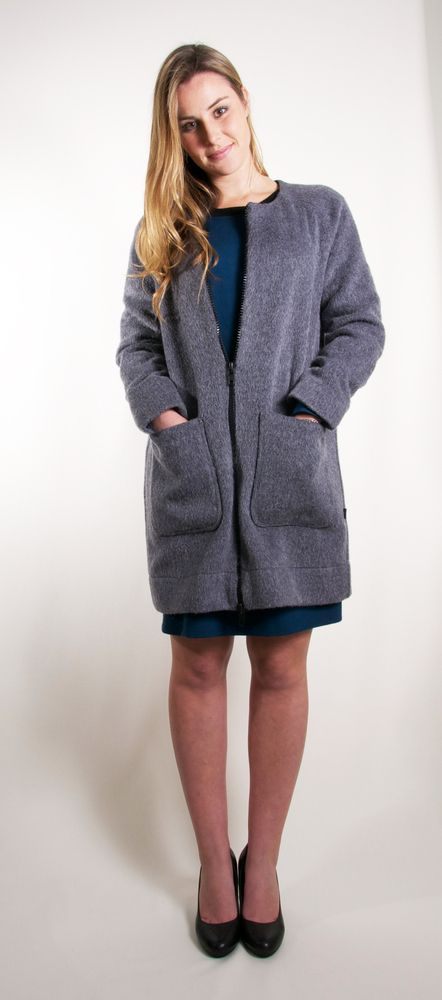 Mohair Coat •Relaxed fit•Generous sleeve length•YKK two-way statement zip•Collarless•Piped patch pockets•Fully linedFabric: 100% MohairLining: 71% Silk 29% CottonGarment Care: Dry-clean only