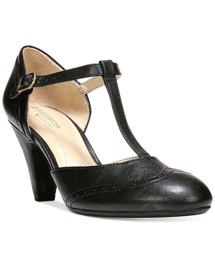 Naturalizer Borrow Heels - Black - 1920s 1930s T-strap Pinup shoes 8.5 VLV #