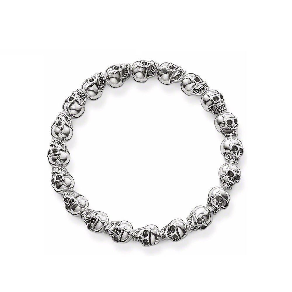 Ts jewellery silver plated ts skull beads elastic bracelets