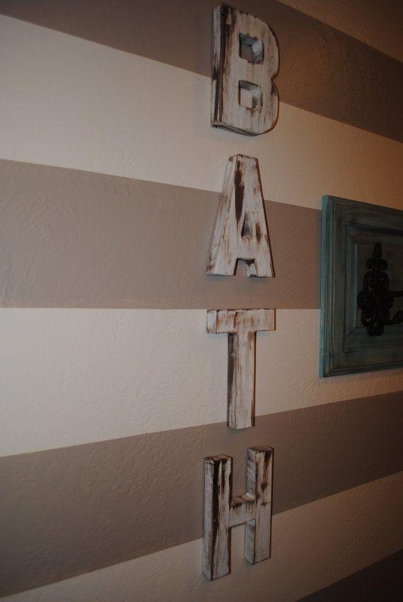 Bath Word Vintage Inspired Rustic Bathroom Decor Shabby Letters