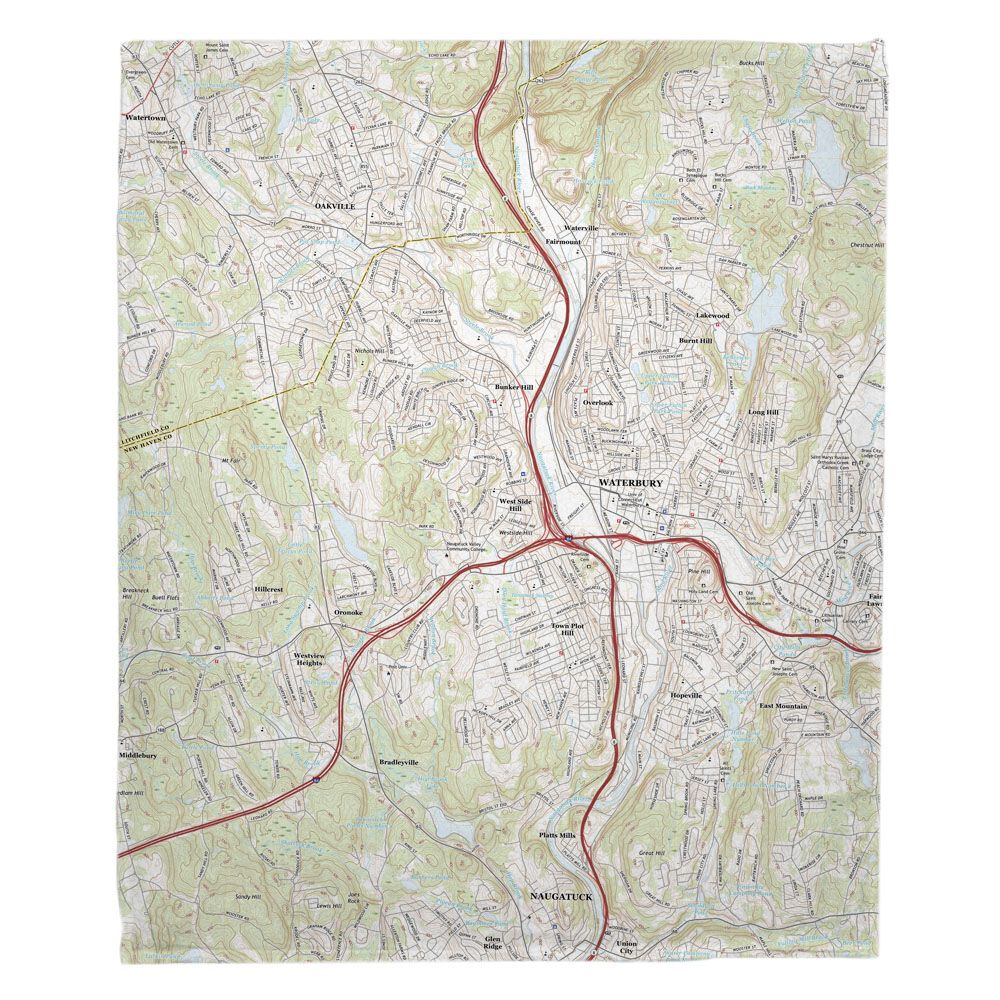 CT: Waterbury, CT Topo Map Fleece Throw Blanket | Nautical Chart ...