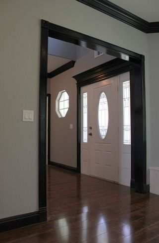 Very Similar To What I Am Thinking Of Doing Clean White Walls Black Trim And Wood Floor