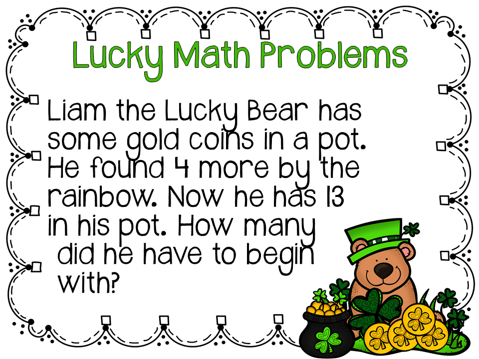 Elementary AMC: Lucky Math Problems | Holidays/St  Patrick's Day