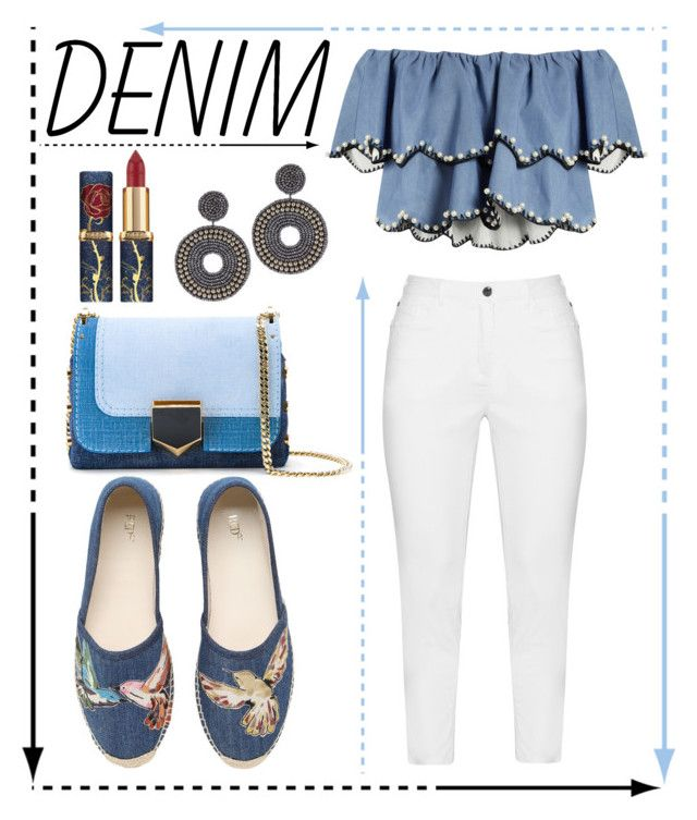"""""""Denim on Denim on Denim on Denim"""" by ghadalog ❤ liked on Polyvore featuring HUISHAN ZHANG, Zhenzi, RED Valentino, Jimmy Choo, Kenneth Jay Lane and alldenim"""