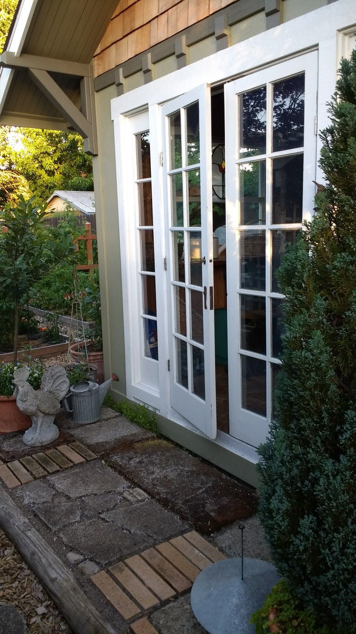 French doors on garden shed garden structures outdoor