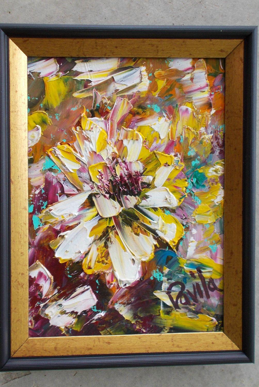 Original mini master piece Old Fashion Sun Flower abstract palette ...