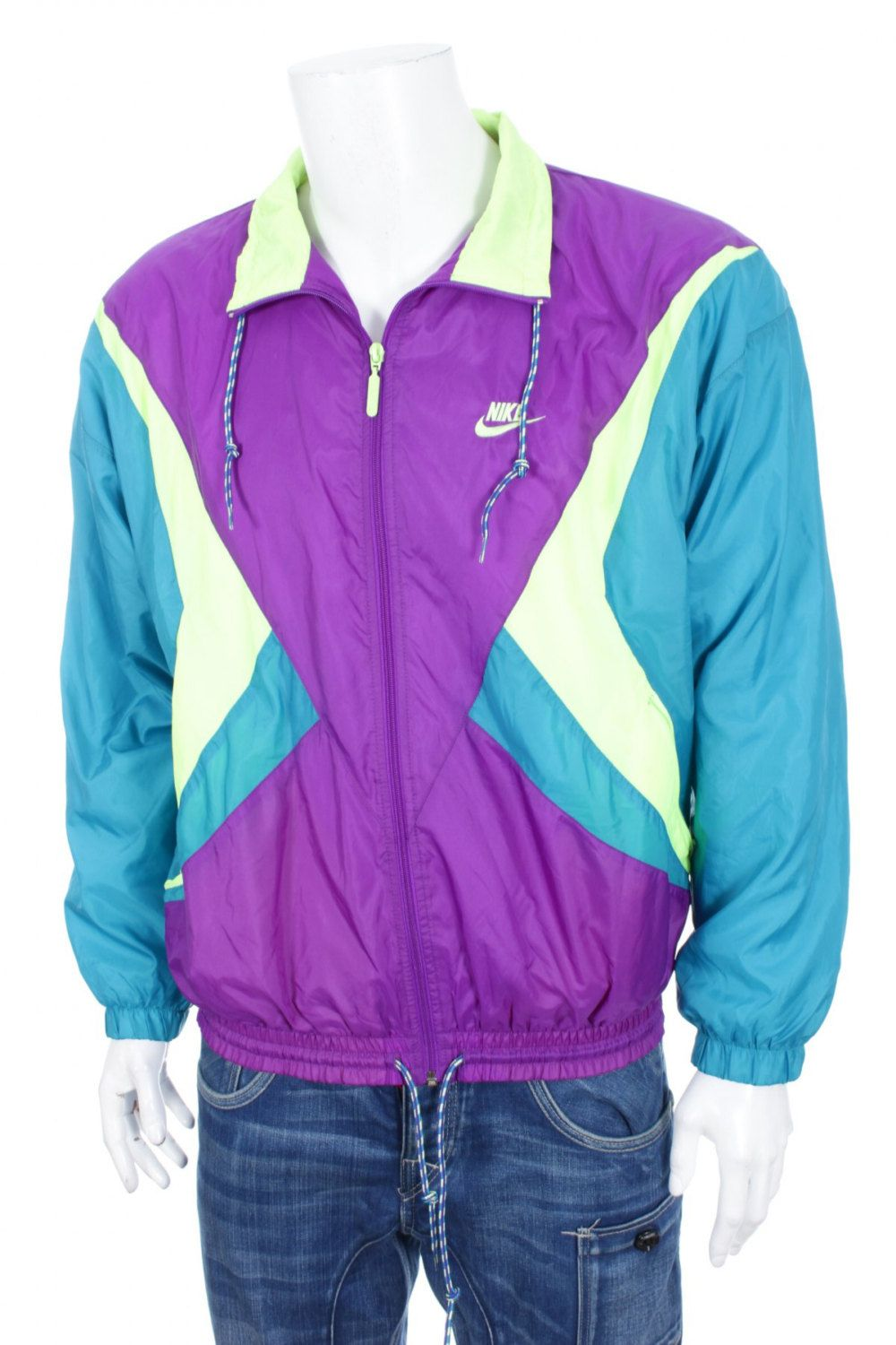 6e185afbff Rare vintage gray tag Neon Nike Tracksuit Top windbreaker Color Block jacket  Purple Blue Lime M by VapeoVintage on Etsy
